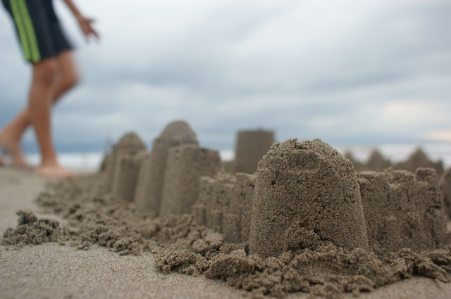 Entertained at the beach - build a sand castle!